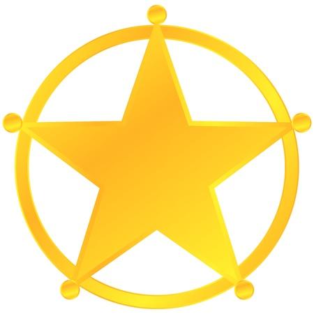 sheriff badge: Golden Sheriff Badge Isolated On White Illustration