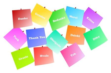 speak english: Illustration Of Thank You Notes In 13 Languages