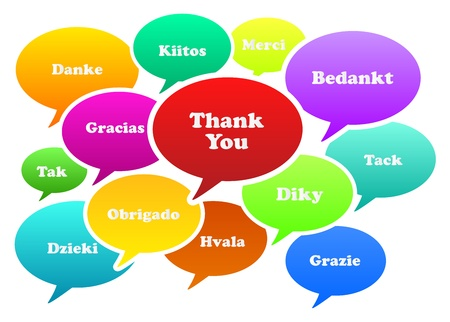 translating: Illustration Of Thank You Bubbles In 13 Languages
