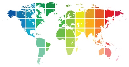 chromatique: Guide de World Color Map Isol� Sur Blanc
