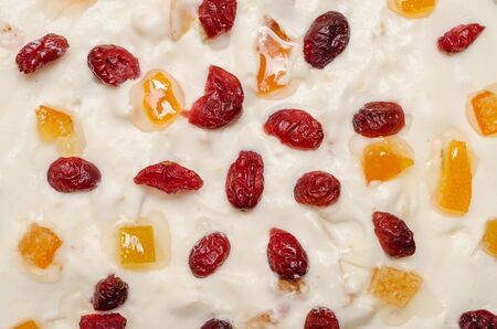 Fruit Cake Topping With Whip Cream And Dried Fruits  Oranges And Cherries Stock Photo - 18762600