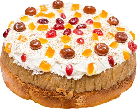 Anniversary Fruit Cake With Whip Cream, Cinnamon And Dried Fruits  Oranges And Cherries  Isolated On White Stock Photo - 18762526