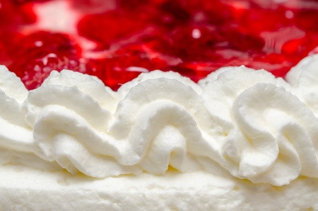 Whip Cream Texture With Red Jelly And Strawberries As Background Stock Photo - 18762426