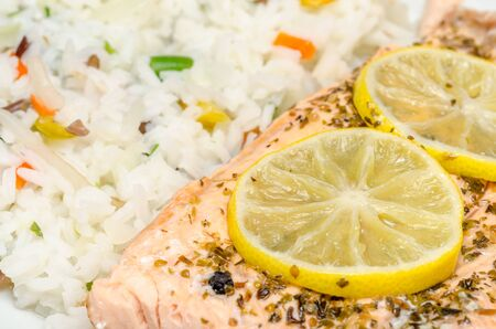 Salmon Grill With Condiments And Rice Stock Photo - 18762475