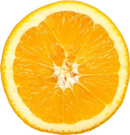Macro Photo Of An Orange Slice Isolated On White photo