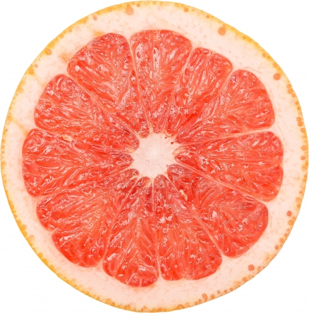 Macro Photo Of A Pink Grapefruit Slice Isolated On White photo