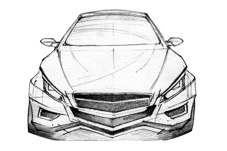 Hand Drawn Illustration Of A Modern Car illustration