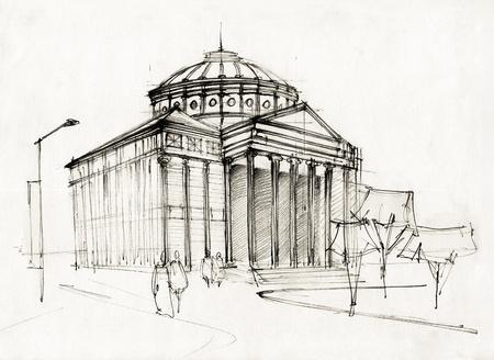 athenaeum: Hand Made Sketch Of A Historical Athenaeum