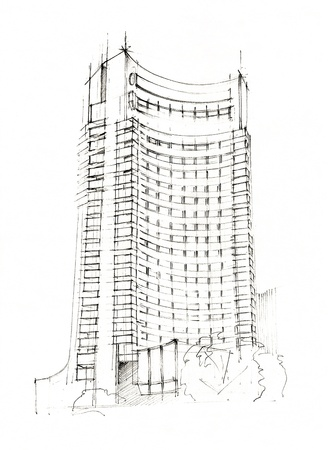 building sketch: Hand Made Sketch Of A Modern Hotel