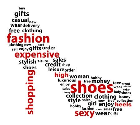 Abstract Nube de la palabra High Heels Ilustración de vector