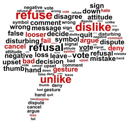 refuse: Thumb Down Refuse Word Cloud Concept