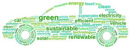 clean energy: Clean Energy Car Concept Word Cloud