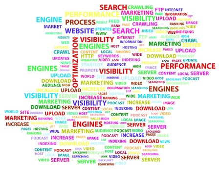 increase visibility: Search Engine Optimization Word Cloud Concept Illustration