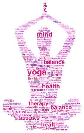 harmony: Mujer que hace yoga Silueta Palabra Nube Concepto Vectores