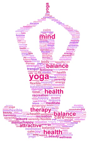 psychological: Yoga Woman Silhouette Word Cloud Concept