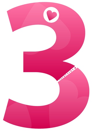 Number Three Love Number Set Vector