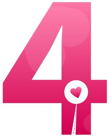 cijfer vier: Nummer Vier Liefde Instellen van het nummer