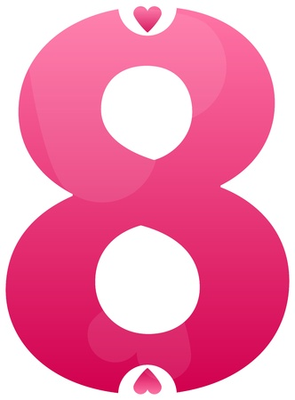 Number Eight Love Number Set Vector