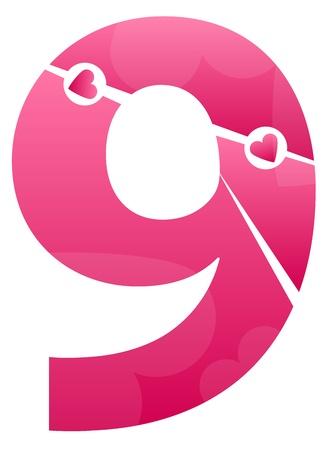 number nine: Number Nine Love Number Set Illustration