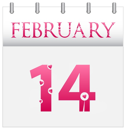 February Valentines Day Calendar Date Vector