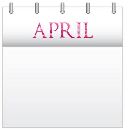 Calendar Month April With Custom Love Font Stock Vector - 19049679