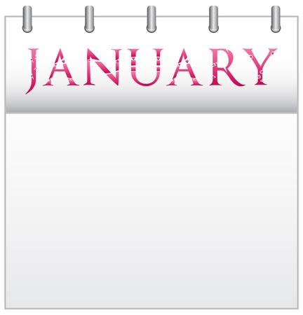 Calendar Month January With Custom Love Font Illustration