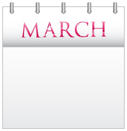 Calendar Month March With Custom Love Font Stock Vector - 19049685