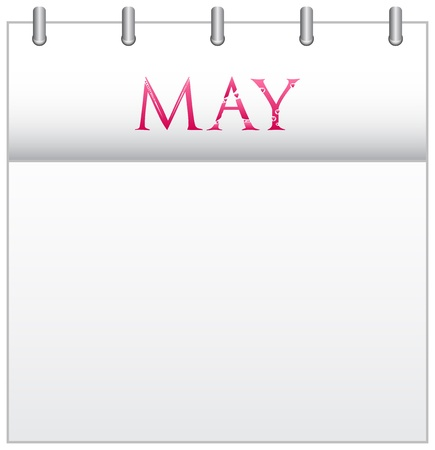 Calendar Month May With Custom Love Font Illustration