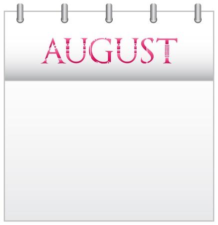 august calendar: Calendario mes de agosto, con Custom Love Font