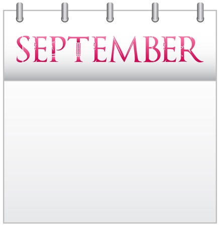 Calendar Month September With Custom Love Font Stock Vector - 19049680