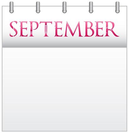 Calendar Month September With Custom Love Font Stock Vector - 19049680