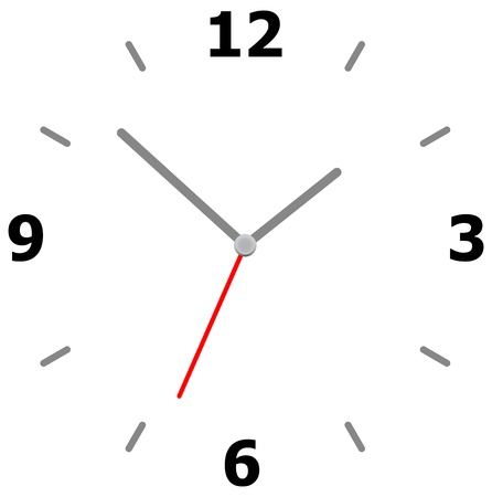 Minimalist Clock Isolated On White Stock Vector - 19094512