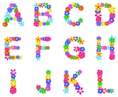 Spring Flower Alphabet Letters A-L Vector