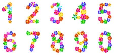 Spring Flower Numbers Set Vector