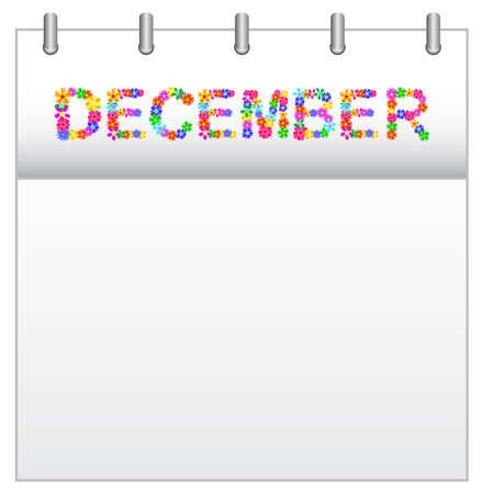 december kalender: Lentebloemen Kalender december Stock Illustratie
