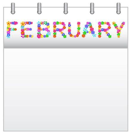 Spring Flowers Calendar February Stock Vector - 19194358