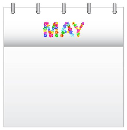 Spring Flowers Calendar May Illustration