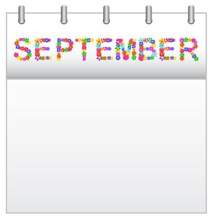 calendar september: Spring Flowers Calendar September