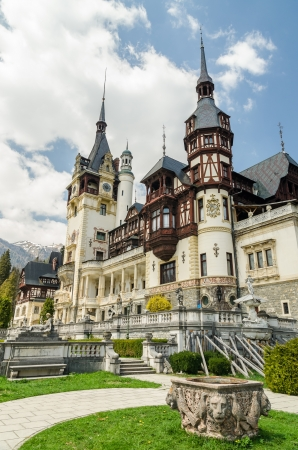 SINAIA, ROMANIA - APRIL 26: Peles Castle facade on April 26, 2013 in Sinaia, Romania. It is a Neo-Renaissance castle in the Carpathian Mountains built between 1873 and 1914.