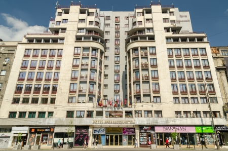 BUCHAREST, ROMANIA - MAY 05: Ambasador Hotel facade on May 05, 2013 in Bucharest, Romania. It is a 3 star modern hotel located downtown Bucharest on Magheru Boulevard and has 99 rooms. Stock Photo - 19389063