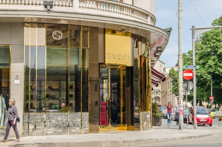 BUCHAREST, ROMANIA - MAY 09: Gucci Store On May 09, 2013 In Bucharest, Romania. It is an Italian fashion and leather goods brand founded by Guccio Gucci in Florence in 1921.