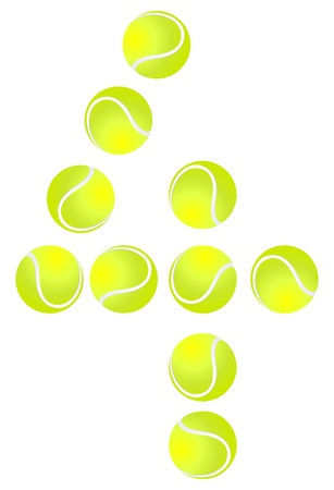 number 4: Tennis Ball Number 4 Illustration