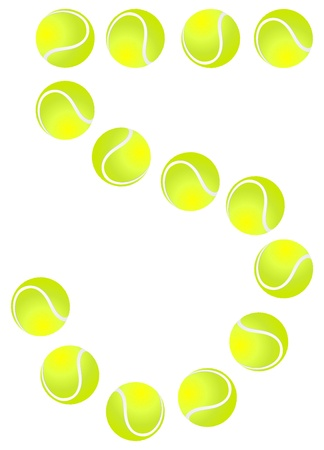 Tennis Ball Number 5 Vector