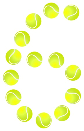 Tennis Ball Number 6 Vector