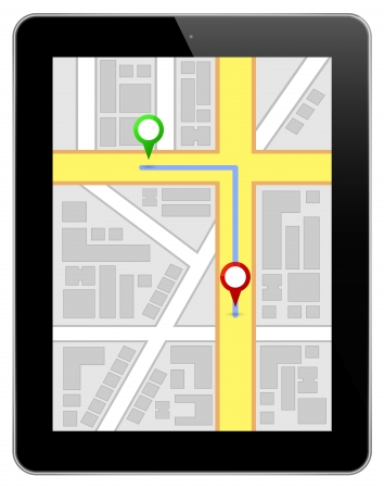 navigation map: Black Business Tablet With Navigation Route Illustration