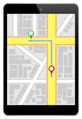 Mini Black Business Tablet With Navigation Route Vector