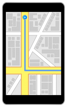 positioning: Black Business Tablet With Global Positioning Network Illustration