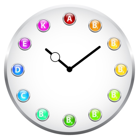 Vitamin Clock Concept Stock Vector - 19756491