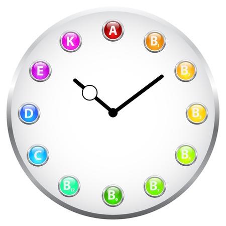 Vitamin Clock Concept Stock Vector - 19756491