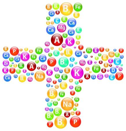 передозировка: Медицинский крест символ с витаминами и минералами Иллюстрация
